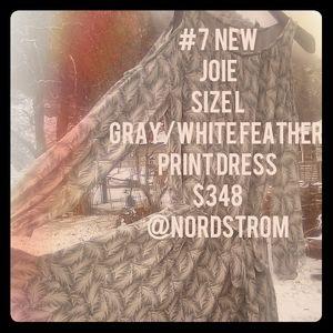 Joie - Gray w/white Feather Print Dress